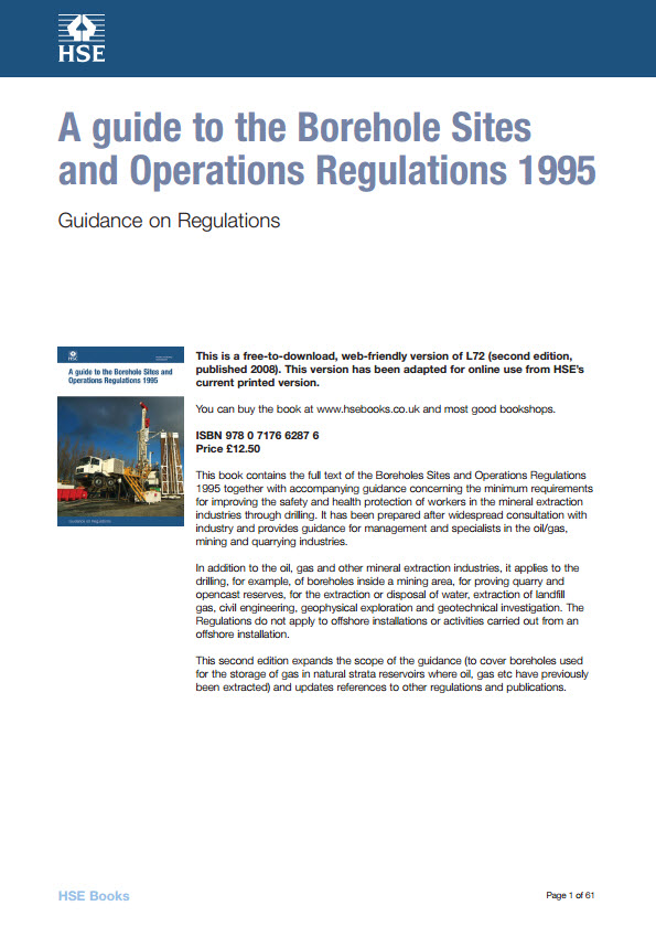 A guide to the Borehole Sites and Operations Regulations 1995 UK